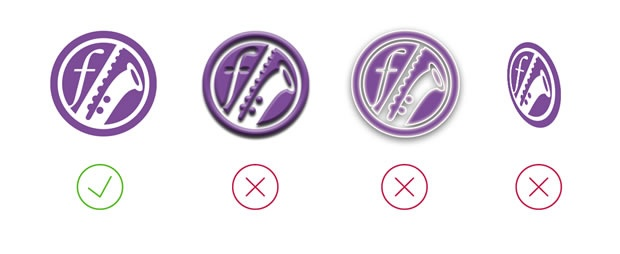 Four similar music-related icons. The first one is simple and flat, and more effective than the other three, which have drop shadows, glow effects and distortion