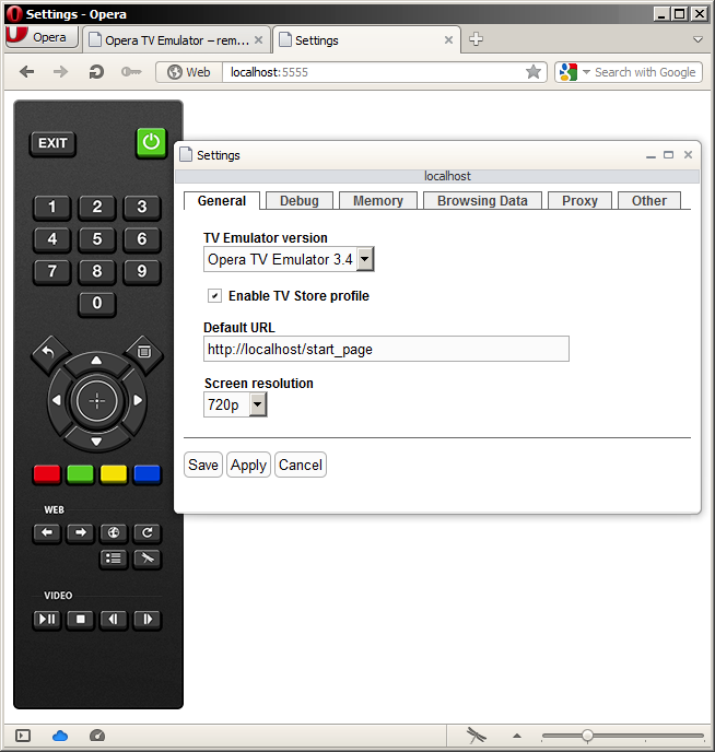 The web-based remote control, showing the settings popup dialog